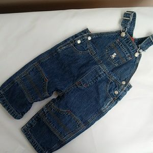 GAP Bottoms - 2 Baby GAP jean bib overalls, lined, 12-18mo, EUC
